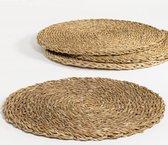 The Table weave - placemats (4st) - Ø 38 - gedroogde hogla bladeren