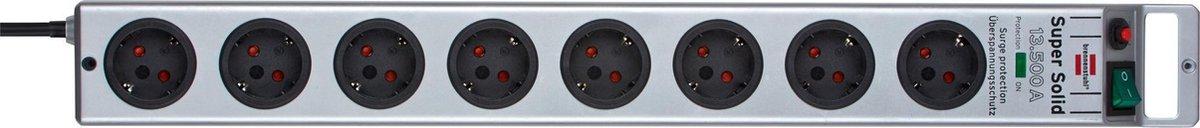 Brennenstuhl Super-Solid Surge Protection 4.500 A Overspanningsbeveiliging - 2,5 m - Zilver