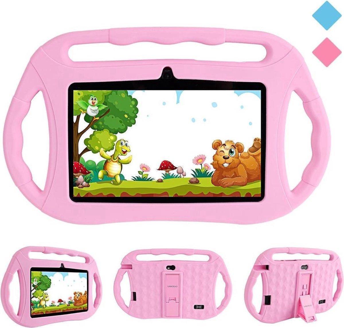 Kindertablet - tablet 7 inch - 16 GB - vanaf 2 jaar - leerzame tablet voor kinderen - Bluetooth - Wifi - spellen - camera - Roze