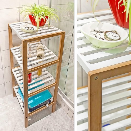 Bol Com Relaxdays Kast Bamboe 4 Witte Planken Open Kast Stellingkast Plankenkast Badkamer