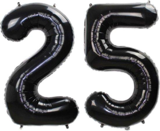 Folie Ballon Cijfer 25 Jaar Zwart 86Cm Verjaardag Folieballon Met Rietje