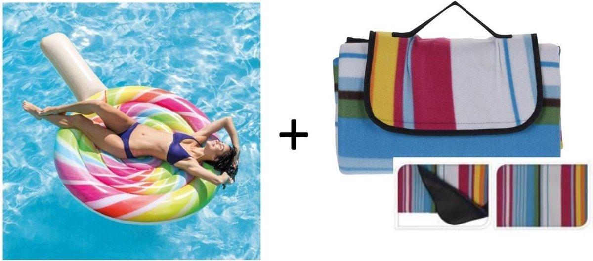Intex opblaasbare luchtbed in lolly vorm met picknickkleed kopen