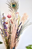 Droogbloemen boeket 70 cm  Zalm Blauw  Dried Flowers   Gedroogde bloemen