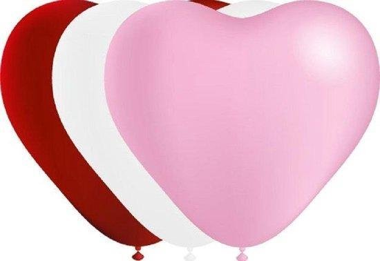 Hart ballonnen - Rood - Wit - Roze