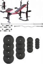 Halterbank INC. 75 kg GEWICHTEN - Sportbank - Fitnessbank - multifunctioneel Gewichtenbank - volledig instelbaar - voor gewichten – zwart met rood Opklapbaar