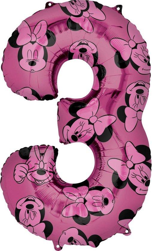 Minnie Mouse Helium Ballon Cijfer 3 66cm leeg