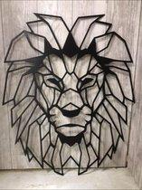 Wand- muurdecoratie Leeuw 2 / maat M / 60 / geometrisch / dier / dierenkop /zwart