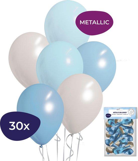 Babyshower Versiering - Gender Reveal Versiering - Geboorte Versiering Jongen - Helium Ballonnen - 30 stuks