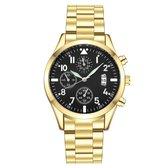 Quartz Heren Horloge • Luxe • Goud • Zwart • Blauw • Heren • Horloge •  Quartz • Zakelijk • Stijlvol