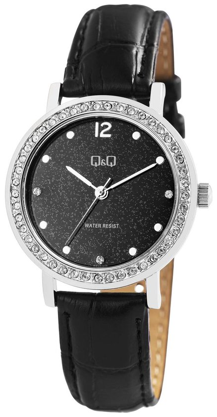 Q&Q dames horloge met steentjes zwarte band waterresistant