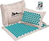 Yogamat - Spijkermat voor diepe ontspanning - Inclusief acupressuur e-book - Acupressuur mat met kussen - Massagemat - Meditatiemat - Acupunctuur mat