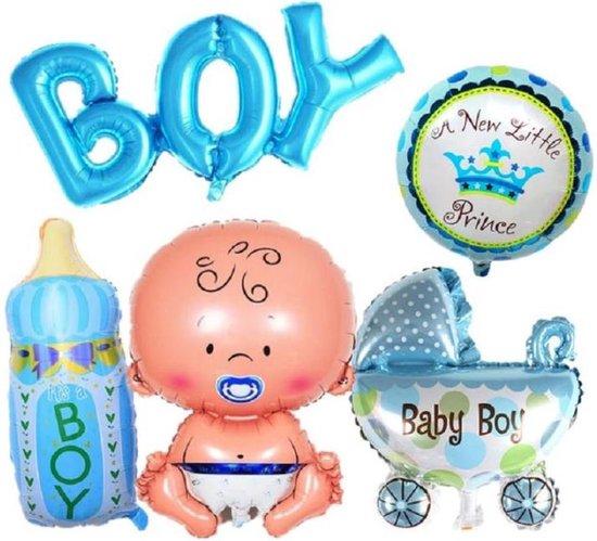 Geboorte Folie ballonnen - set van 6 - baby - jongen