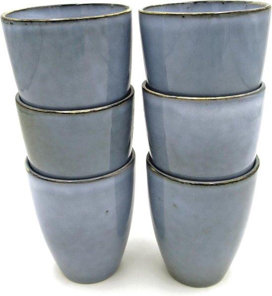 Lavandoux - Organisch - Koffiemok - Ceramic - 230ml - Grijs - Set van 6