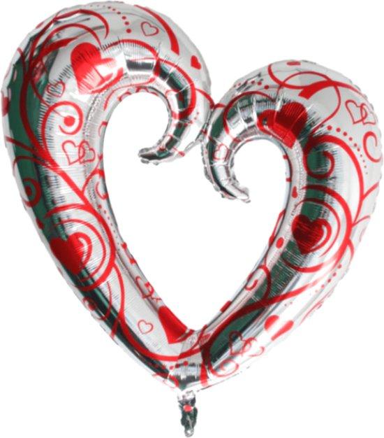 Hart Ballon - XL JUMBO Groot - 110 cm - Zilver & Rood - Folieballon - Ballonen Verjaardag - Romantische Versiering - Valentijn - Huwelijk - Verloving - Bruiloft - Jubileum
