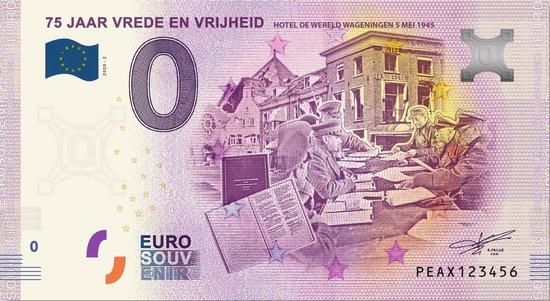 Afbeelding van het spel 0 Euro Biljet 2020 - 75 jaar Vrede en Vrijheid Hotel de Wereld Wageningen
