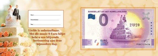 Thumbnail van een extra afbeelding van het spel 0 Euro biljet Nederland 2020 - Bankbiljet uit het huwelijksjaar in cadeauverpakking
