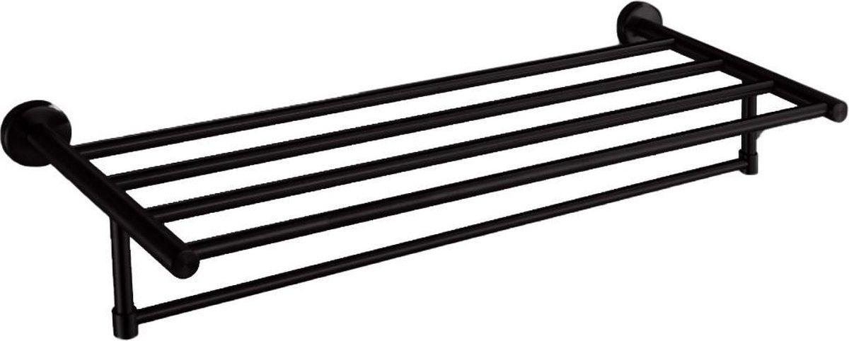 VDN Stainless Handdoekrek - Handdoekrek badkamer - Zwart - Handdoekhouder - Handdoekstang - RVS - Hangend