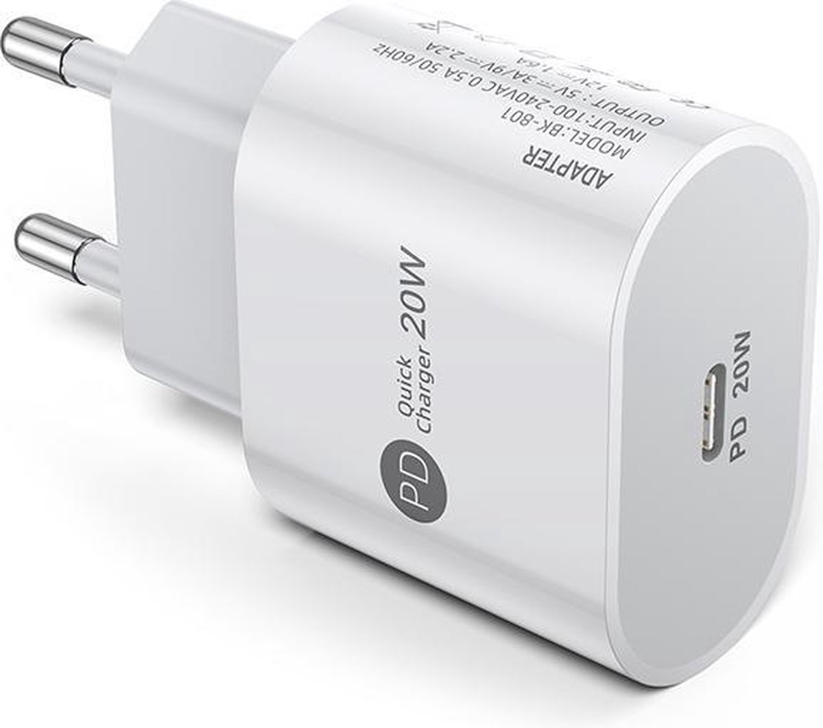 DrPhone PD Lunar - 20W Thuislader- Oplader 5V 3A / 9V 2.2A/12V 1.6A - voor o.a iPhone 12/ 12 Pro / 12 MAX /iPad/ S21/P40 etc - Wit