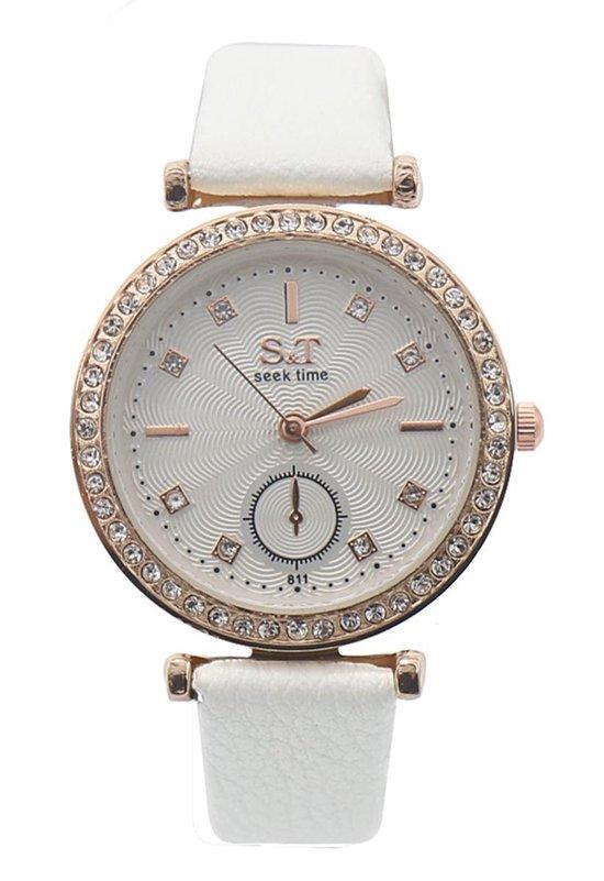 Dielay – Horloge Dames – Steentjes – Ronde Kast 32 mm – Band Kunstleer – Quartz – Wit
