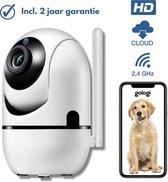 Gologi® - Beveiligingscamera - Huisdiercamera - Ip camera - WiFi - Beweeg en geluidsdetectie - Werkt met app - Draadloos - Wit
