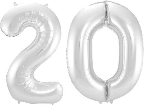 Ballon Cijfer 20 Jaar Zilver 36Cm Verjaardag Feestversiering Met Rietje