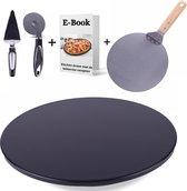 Kitchen Green Pizzasteen BBQ - Pizzaplaat Oven - incl. E-Book - Zwart