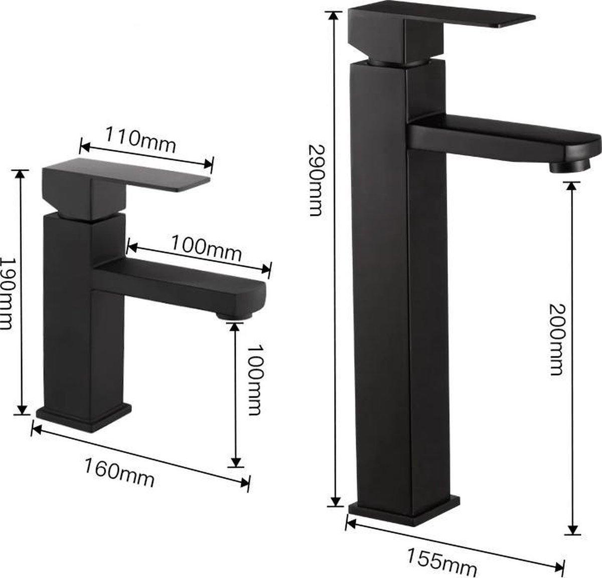 STEEN & STAAL® Wastafelkraan Zwart Model-XL™ | Hoog | Geschikt voor waskom