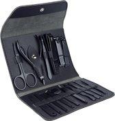 BØAF - Luxe 16-delige - Manicure set - met Lederen Opbergetui - voor Handverzorging  - Voetverzorging - Gezichtsverzorging - Nagelschaartje - - Zwart