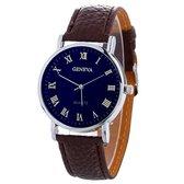 Fako® - Horloge - Geneva Blue - Plastic - Bruin