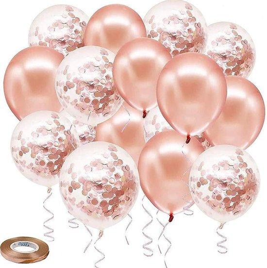 40 stuks - Rose Goud - Roze Gold-  Helium Ballonnen met Lint - Papieren confetti  - Latex