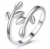 Zilveren verstelbare ring met blaadjes Charme Bijoux