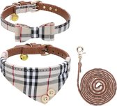 Pepets © Luxe Hondenriem set – Halsband Hond – Bandana Hond – Strik Hond – Hondenstrik – Hondenhalsband – Leiband Hond -Beige Ruit - Maat M