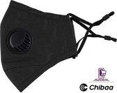 Chibaa - JS2DEAL - Zwart Mondkapje Wasbaar Herbruikbaar Mondmasker Met Ventiel en 1 vervangbare PM2.5 Filter - Katoenen Mondmasker met ventiel en filter - ijzeren neusbeugel - Mouth Mask - Stoffen Mond masker - Herbruikbaar Mond Kapje