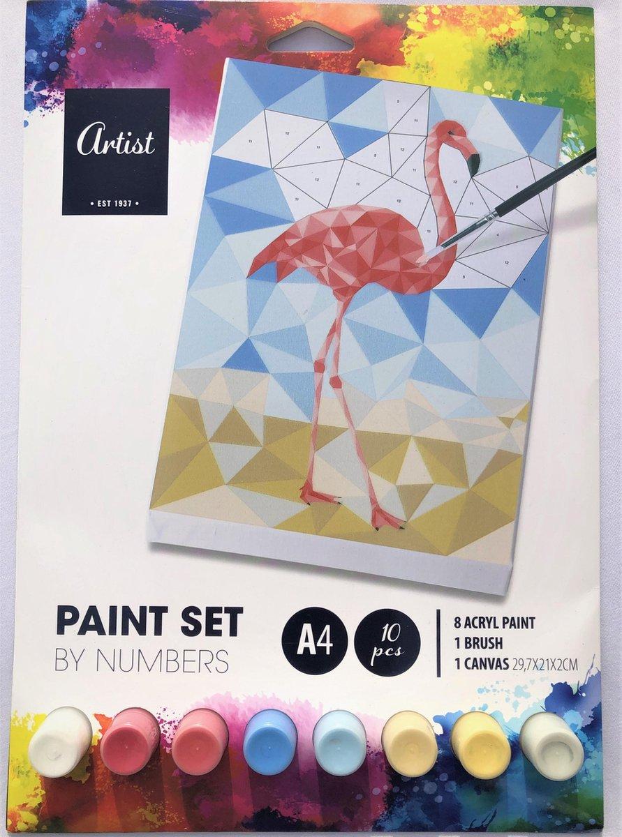 Schilderen - Schilderen op nummer - 10 delig - Flamingo - Painting by number - 8 kleuren verf - A4 formaat - Hobby