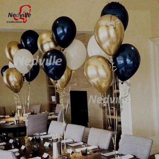 50 stuks Stijlvol assortiment grote ballonnen - Nedville collectie - metallic goud, zwart en wit - verjaardag ballonnen - 38 cm lang - top kwaliteit bio afbreekbaar latex - voor helium, lucht, etc. - Nu met snel sluiters t.w.v. 10,95