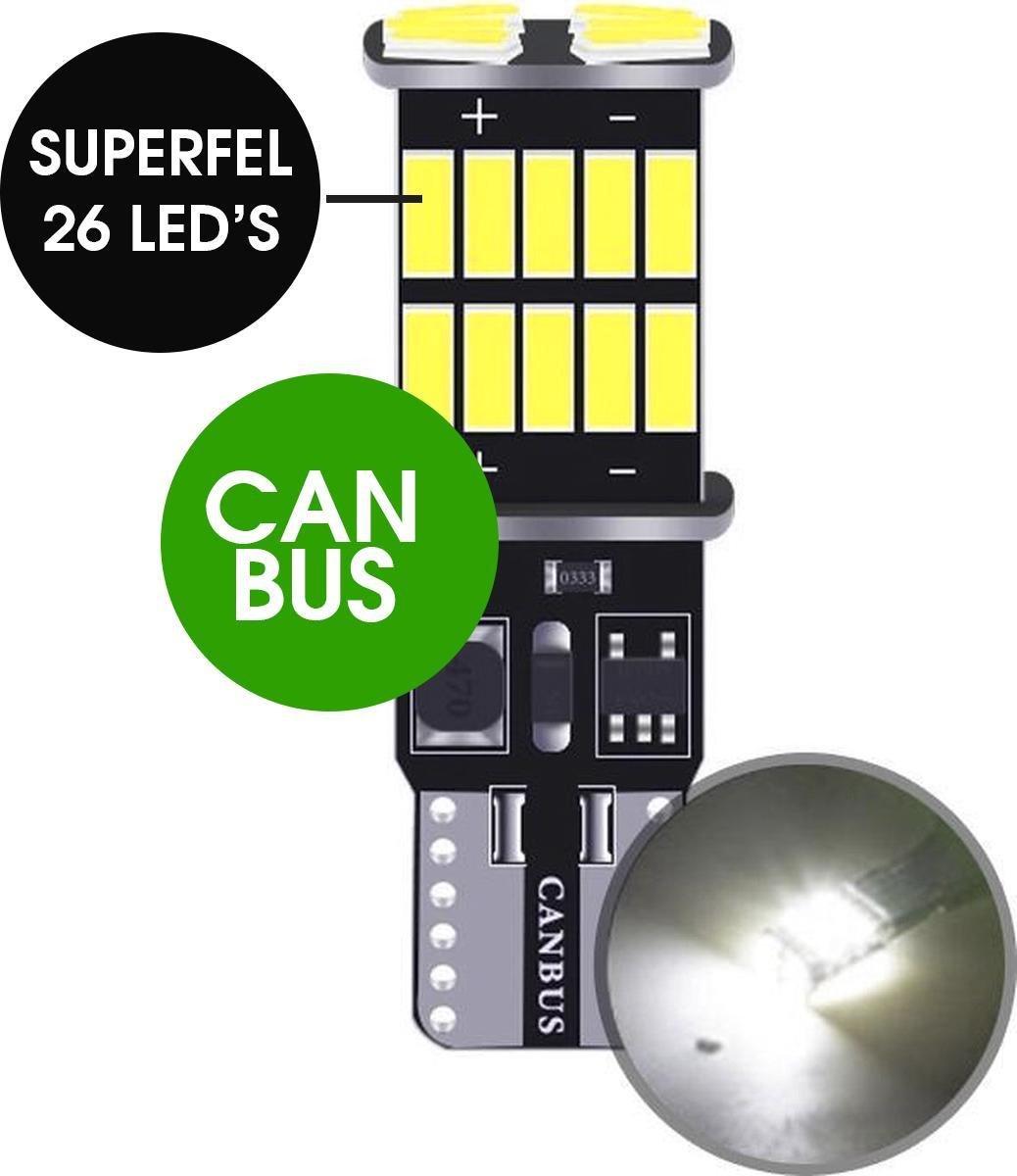 W5W Led Auto CANbus - 1 stuk - T10 Auto Led - Wit - 6000 K - Foutvrij - 12V 24V - 26 SMD - Witte Led