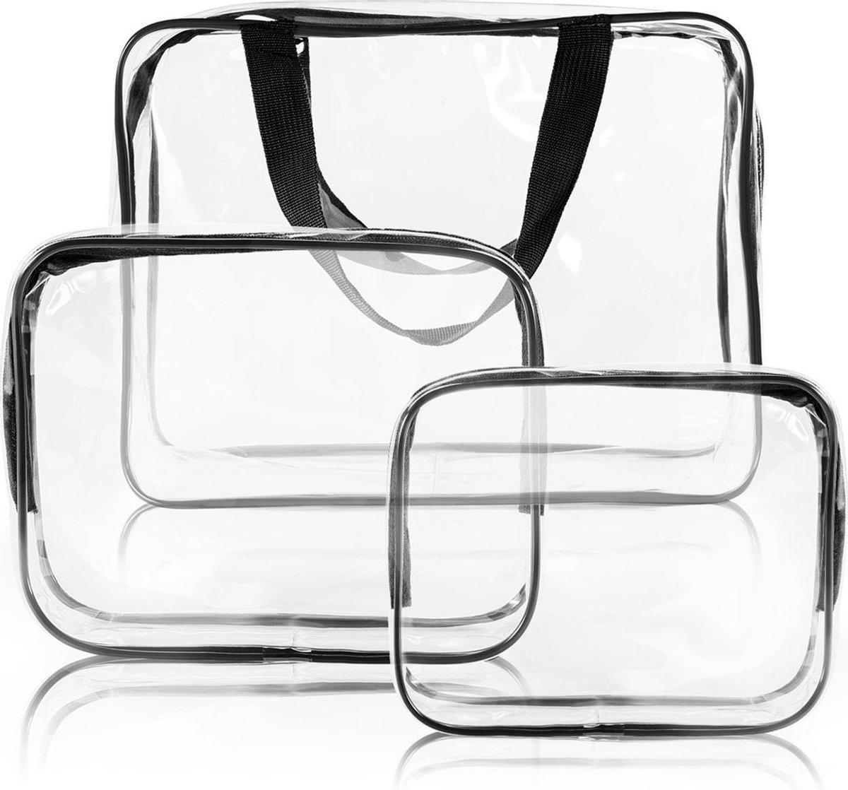 Reis Doorzichtige Toilettas Set voor Toiletartikelen   Transparante Travel Organizer Bag 3-Pack