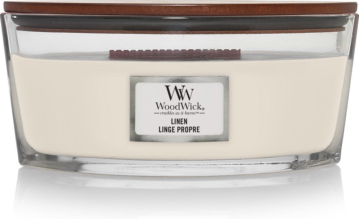 Woodwick Heartwick Flame Ellipse Geurkaars - Linen