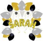 e-Carnavalskleding.nl Feestversiering pakket Sarah 50 jaar   Versiering Sarah 50 jaar feest   Sarah 50e verjaardag feestversiering   Leuk pakket Sarah goud/zwart met feestartikelen voor de Sarah Small