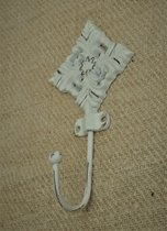 Kolony, Kapstok- ophanghaak, wit gietijzer, 16 x 9 cm, komt 5 cm naar voren.