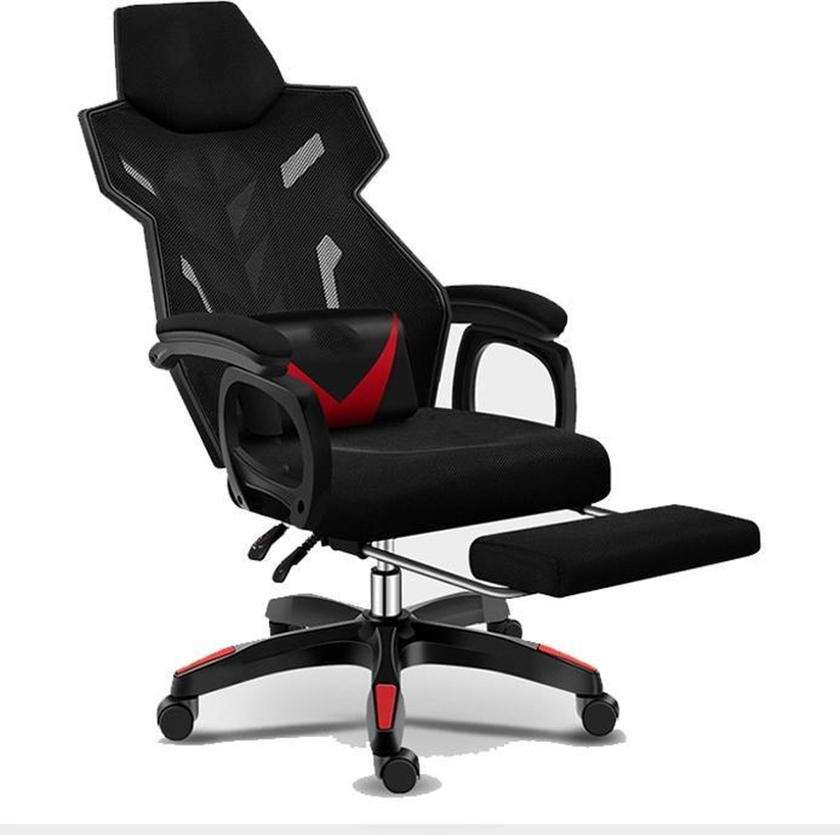 Game Stoel RaptorX Kazaxl - Gamestoel - Zwart - Rood - Gaming Chair - Met voetsteun - Bureaustoel