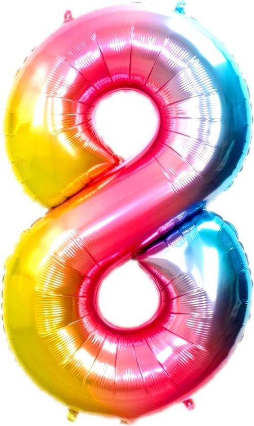 Folie Ballon Cijfer 8 Jaar Regenboog 36Cm Verjaardag Folieballon Met Rietje