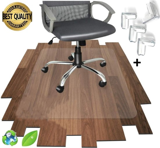 Luxergoods bureaustoelmat PVC - 90x120 cm- Met Hoekbesschermers - Vloermat bureaustoel - Vloerbeschermer - Beschermt harde vloer