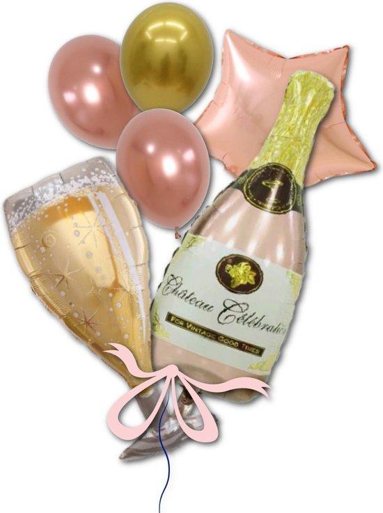 Helium Folie Ballon Roségoud Champagne Fles en Glas voor Verjaardag, Sarah, Geslaagd Versiering, Jubileum | Geschikt voor Helium