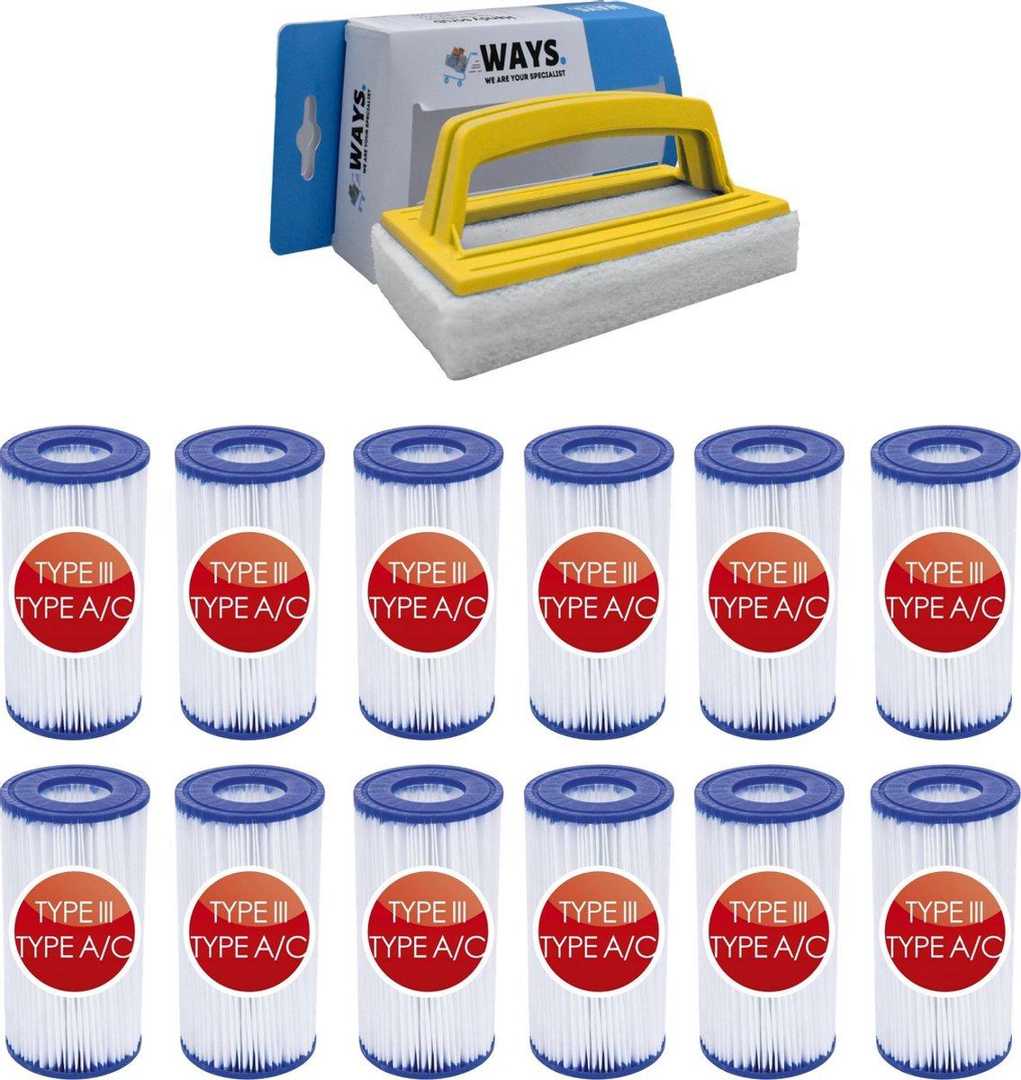 Bestway - Type III filters geschikt voor filterpomp 58389 - 12 stuks & WAYS scrubborstel