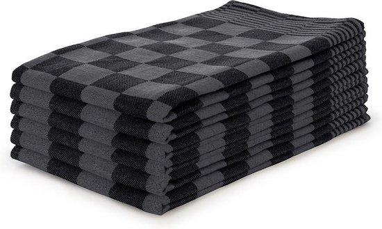 Theedoekenset Blok Zwart - 65x65 - Set van 6 - Geblokt - Blokdoeken - 100% katoen - Horeca Theedoeken
