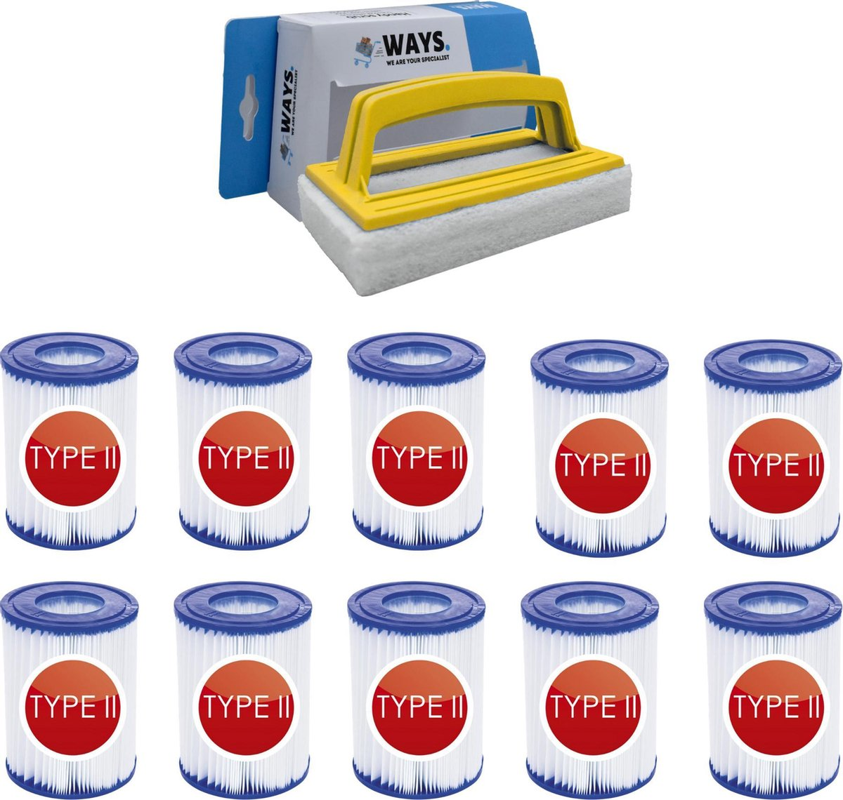 Bestway - Type II filters geschikt voor filterpomp 58383 - 10 stuks & WAYS scrubborstel