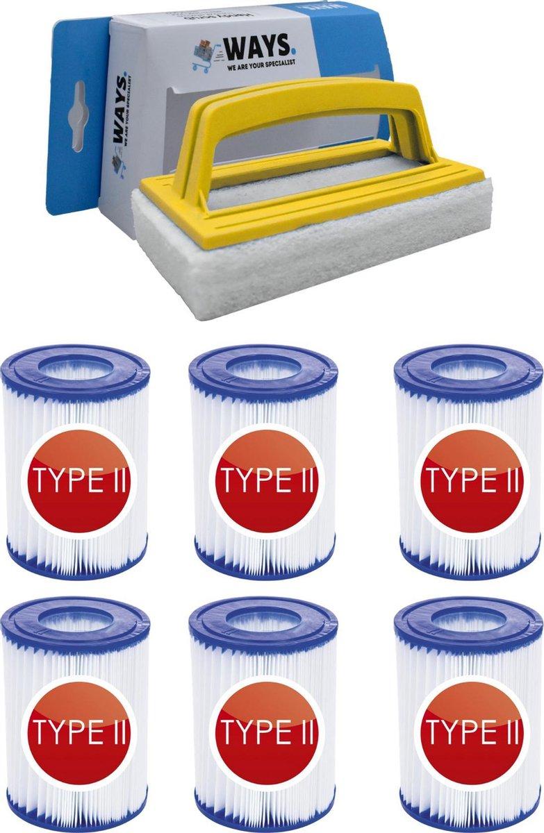 Bestway - Type II filters geschikt voor filterpomp 58383 - 6 stuks & WAYS scrubborstel
