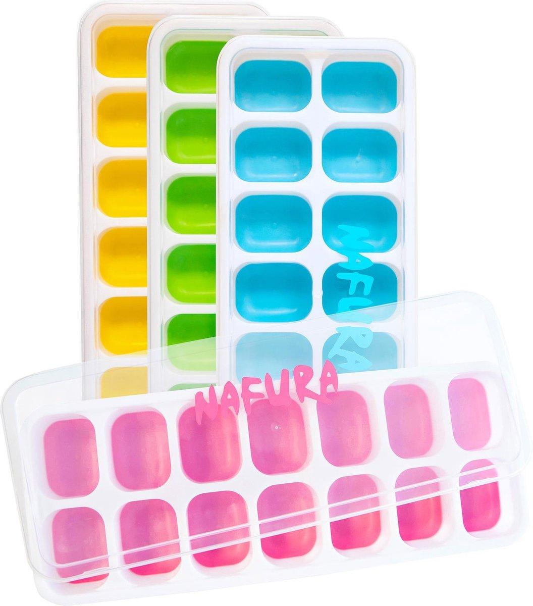 Nafura  Siliconen IJsblokjesvorm met deksel   4 Stuks   Herbruikbaar   BPA Vrij - Vierkant