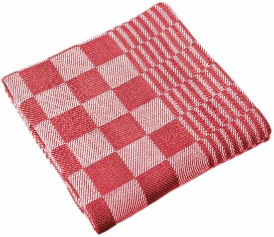 Dreamhouse Theedoekenset - Geblokt - Set van 12 stuks - 65x65 - Rood - Voor in de keuken en horeca